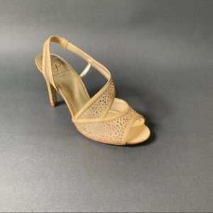 Adrianna Papell Gold Mesh/Rhinestone Evening Shoes